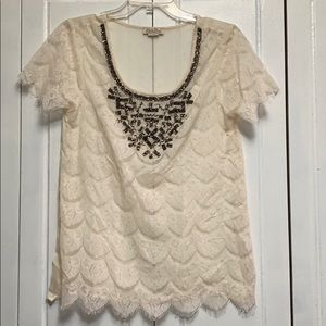Lucky Brand short sleeve sheer lace top blouse M